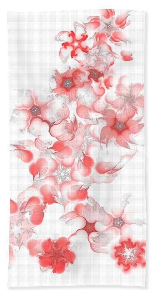 Digital Photograph Hand Towel featuring the digital art Red Fractal Floral Pattern by David Lane