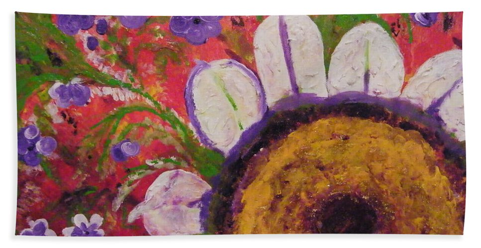 Flowers Bath Sheet featuring the painting Red Garden by Alanna Sage