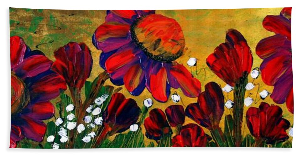 Flowers Bath Sheet featuring the painting Red Garden by Luiza Vizoli
