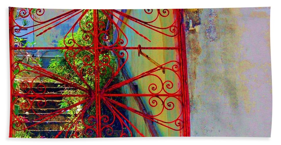 Gate Bath Towel featuring the photograph Red Gate by Debbi Granruth