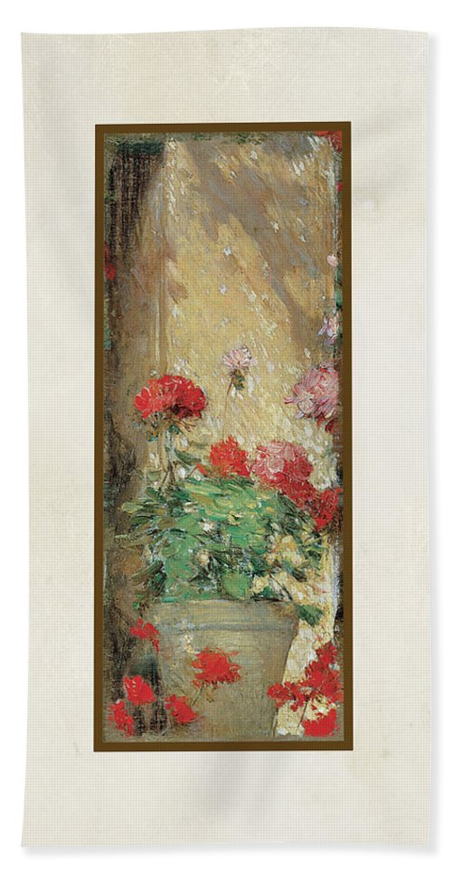 Old Masters Hand Towel featuring the painting Red Geranium Pots by Audrey Jeanne Roberts