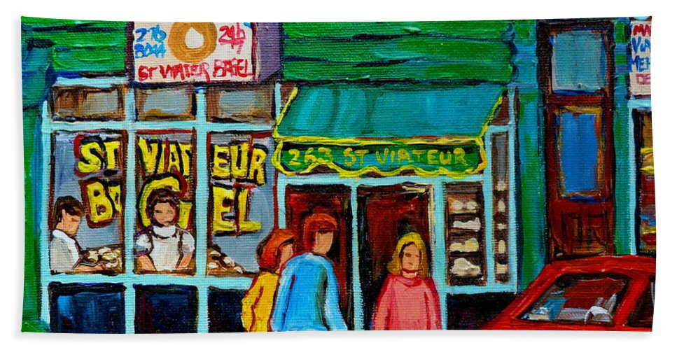 St Bath Towel featuring the painting Red Geraniums And Bagels by Carole Spandau