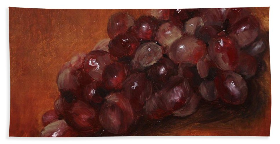 Fruit Bath Towel featuring the painting Red Grapes by Barbara Andolsek