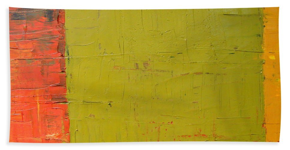 Red Bath Sheet featuring the painting Red Green Yellow by Michelle Calkins