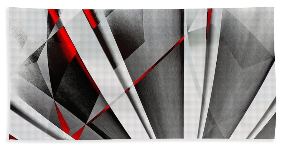Abstractum Hand Towel featuring the digital art Red-grey Abstractum by Max Steinwald
