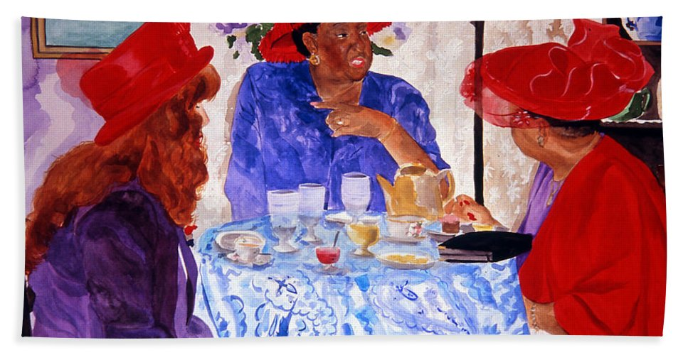 Red Hat Bath Sheet featuring the painting Red Hatters Chatter by Jean Blackmer