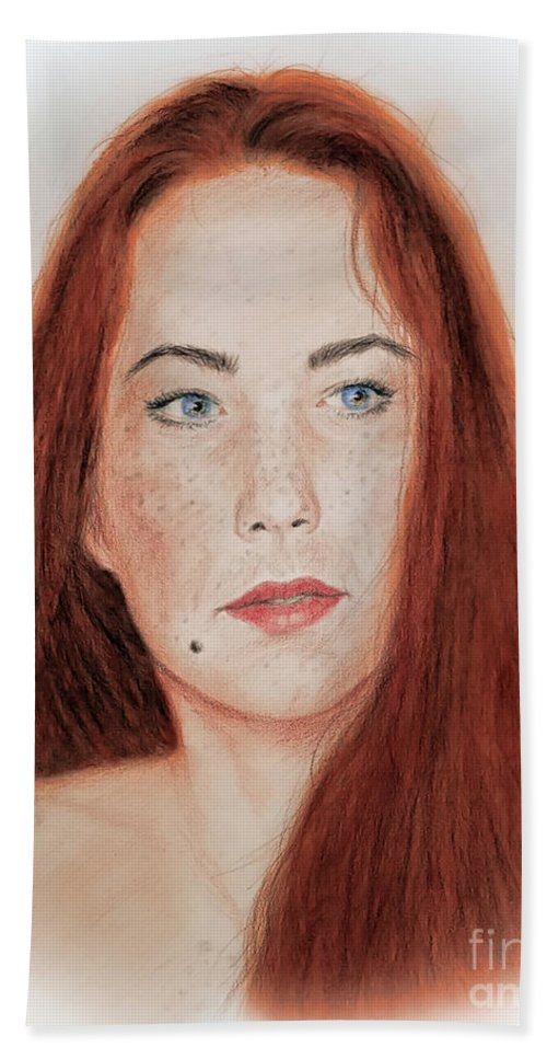 Red Headed Hand Towel featuring the drawing Red Headed Beauty by Jim Fitzpatrick