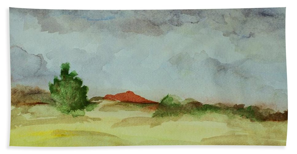 Landscape Bath Sheet featuring the painting Red Hill Landscape by Vonda Lawson-Rosa