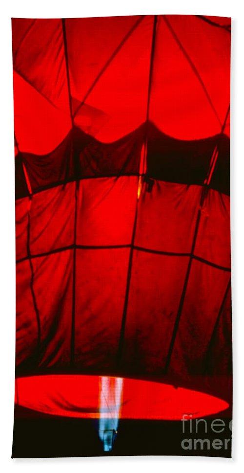 Balloon Bath Sheet featuring the photograph Red Hot Air Balloon by Thomas Marchessault