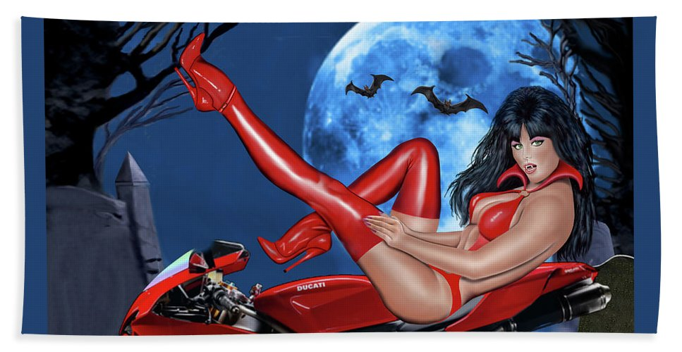 Female Vampire Hand Towel featuring the digital art Red Hot Rider by Glenn Holbrook