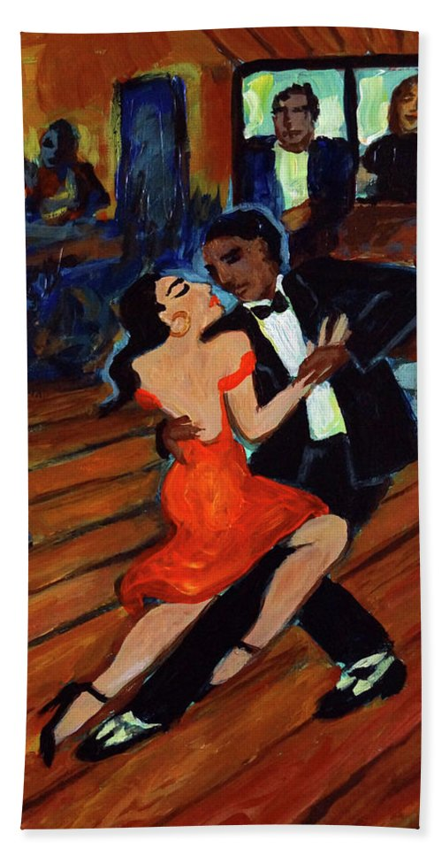 Latin Dancing Hand Towel featuring the painting Red Hot Tango by Valerie Vescovi