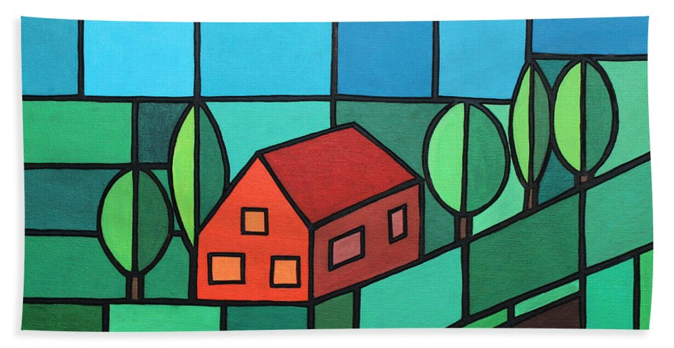 Paint Hand Towel featuring the painting Red House Amidst The Greenery by Jutta Maria Pusl