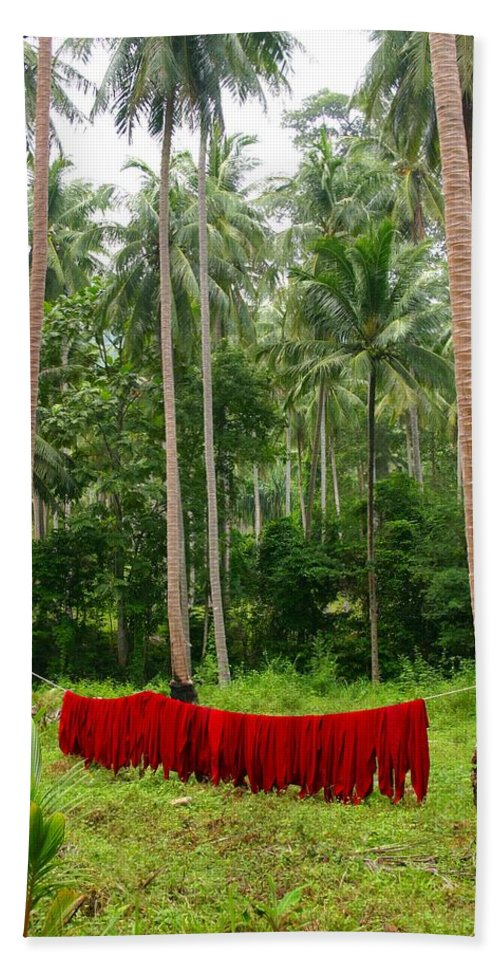 Palm Trees Hand Towel featuring the photograph Red In The Jungle by Minaz Jantz