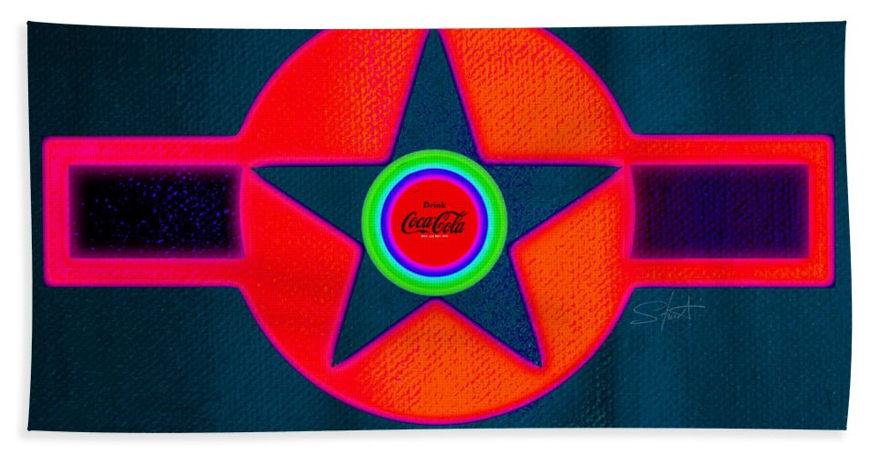 Usaaf Bath Towel featuring the painting Red Intense by Charles Stuart