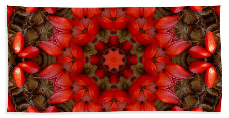 Kaleidoscope Hand Towel featuring the digital art Red Kaleidoscope No. 1 by Lyle Hatch