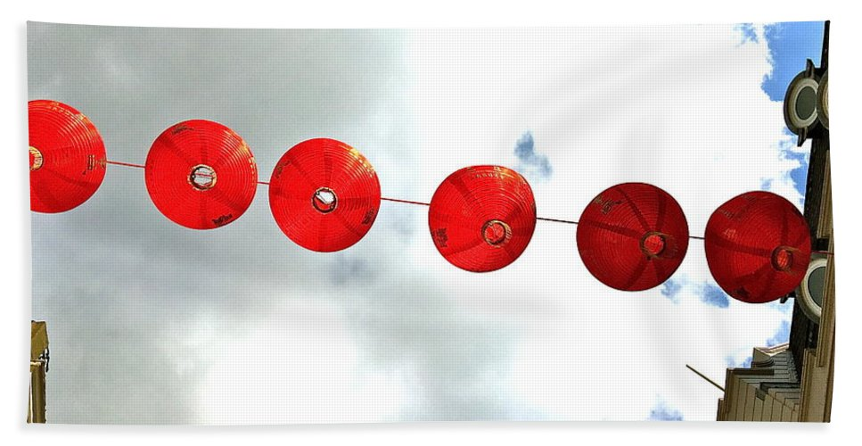Chinese Lanterns Hand Towel featuring the photograph Red Lanterns In Chinatown by Caroline Reyes-Loughrey