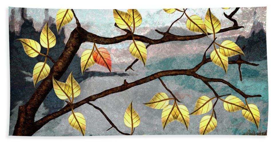 Digital Art Hand Towel featuring the digital art Red Leaf by Ken Taylor