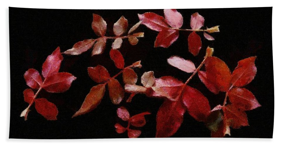 Autumn Hand Towel featuring the painting Red Leaves by Jeffrey Kolker