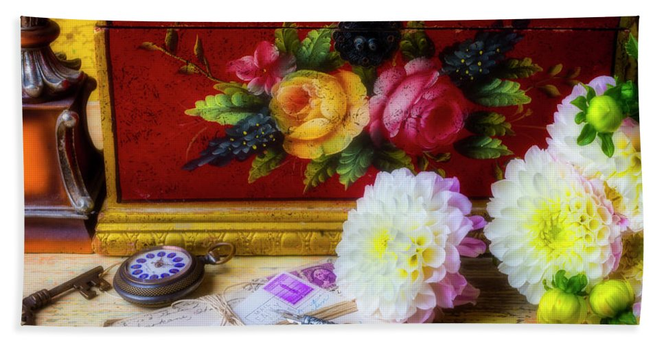 Red Hand Towel featuring the photograph Red Letter Box And Dahlias by Garry Gay