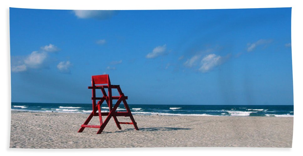 Photography Bath Sheet featuring the photograph Red Life Guard Chair by Susanne Van Hulst