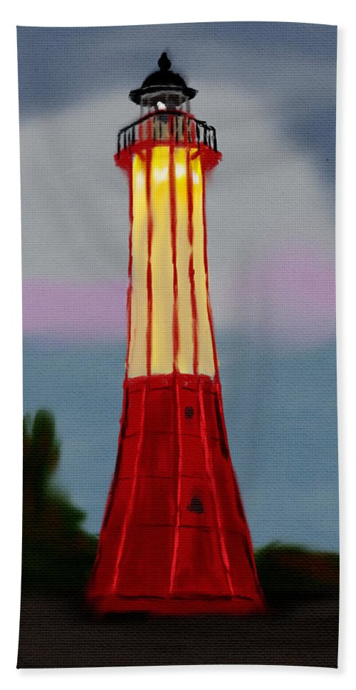 Lighthouse Bath Sheet featuring the digital art Red Lighthouse by Michael Kallstrom