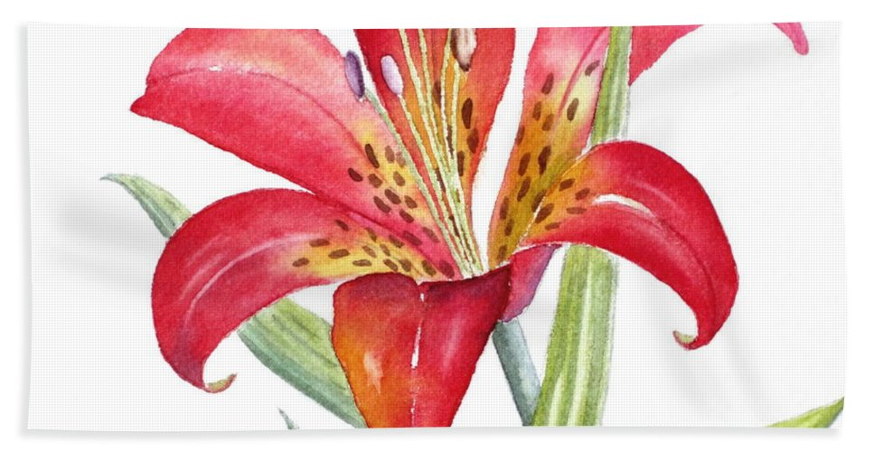 Lily Hand Towel featuring the painting Red Lily by Deborah Ronglien