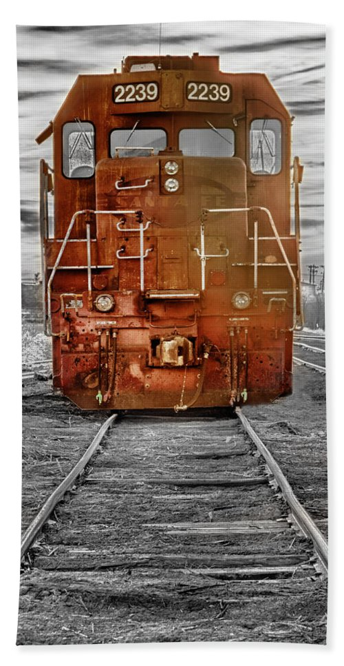 Railroad Bath Sheet featuring the photograph Red Locomotive by James BO Insogna