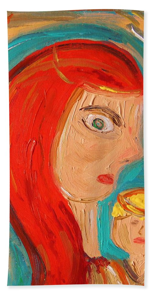 Red Hand Towel featuring the painting Red Madonna by Mary Carol Williams
