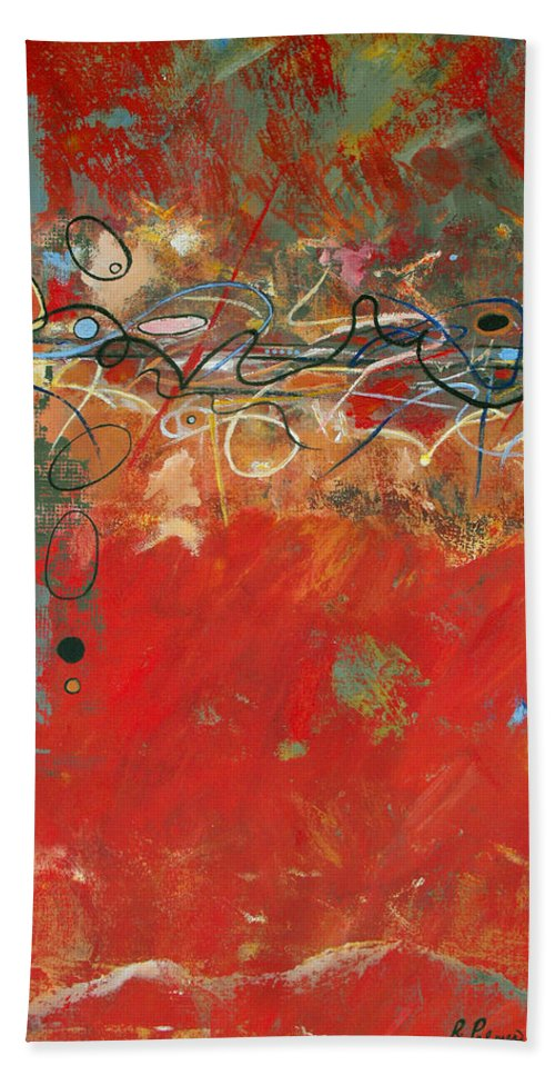ruth Palmer Abstract Gestural Color Red Painting Acrylic Black Orange Blue Yellow Green Decorative Bath Sheet featuring the painting Red Meander by Ruth Palmer