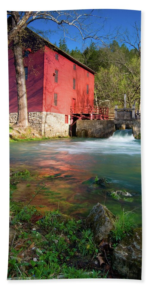 Missouri Hand Towel featuring the photograph Red Mill by Steve Stuller