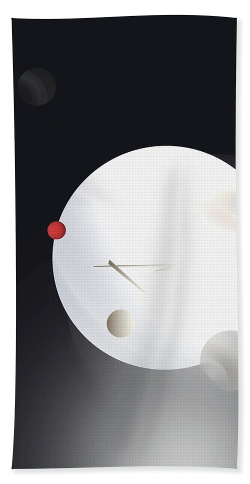 Abstract Hand Towel featuring the digital art Red Moon by John Krakora