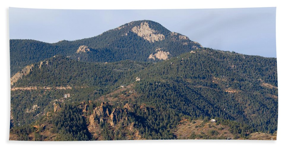 Red Mountain Bath Sheet featuring the photograph Red Mountain In The Foothills Of Pikes Peak Colorado by Steve Krull