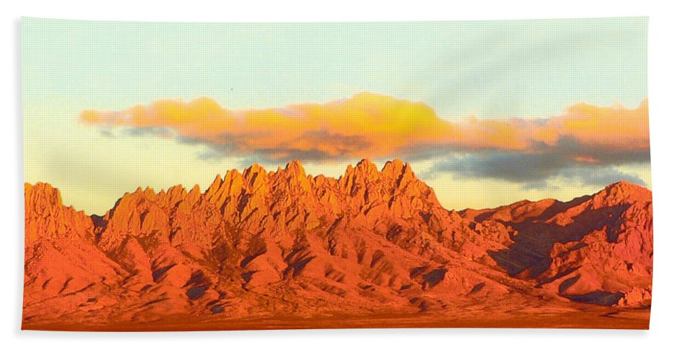 A Jack Pumphrey Photograph Of The Organ Mountains-desert Peaks National Monument Hand Towel featuring the photograph Red Mountain Sunset Organs by Jack Pumphrey