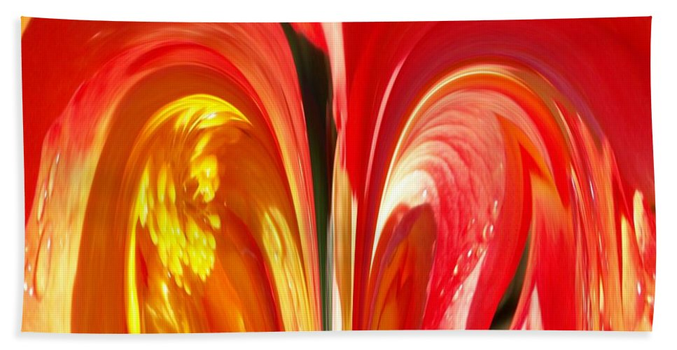 Flowers Bath Sheet featuring the photograph Red N Yellow Flowers 4 by Tim Allen