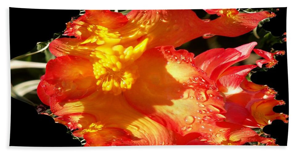 Flowers Bath Towel featuring the digital art Red N Yellow Flowers by Tim Allen