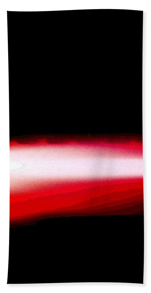 Red Hand Towel featuring the digital art Red Neon Light by April Patterson