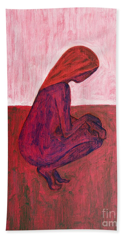 Nude Hand Towel featuring the painting Red Nude by Patrick J Murphy