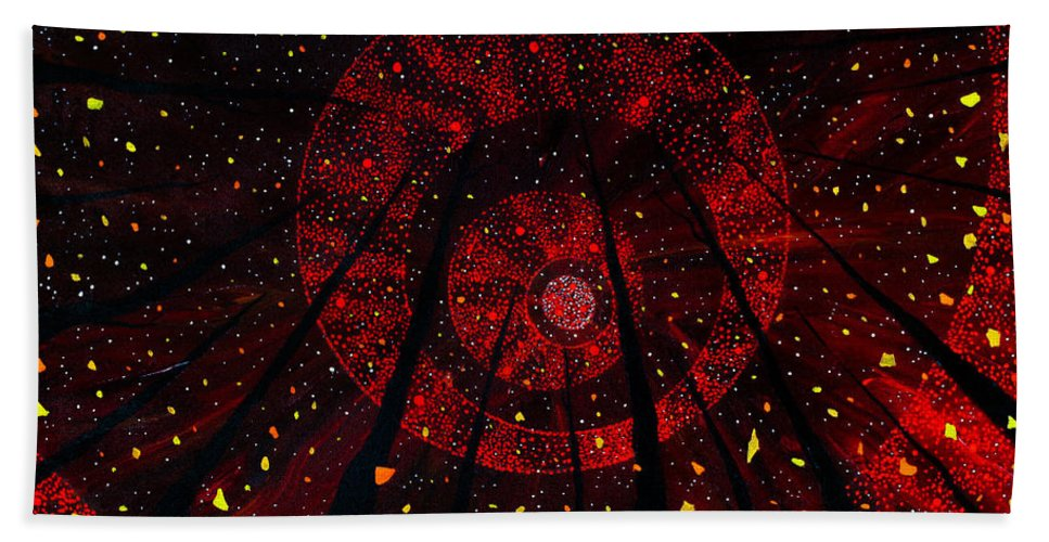 Red October Hand Towel featuring the painting Red October by Joel Tesch