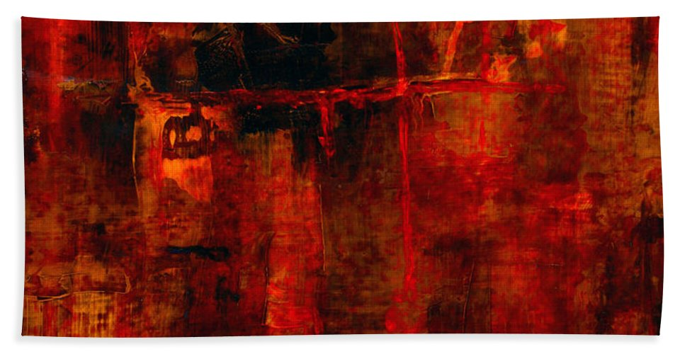 Abstract Painting Bath Sheet featuring the painting Red Odyssey by Pat Saunders-White