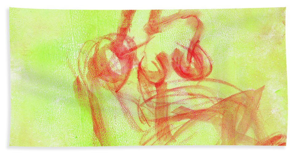 Figure Painting Bath Sheet featuring the painting Red On Green Figure by Janet Gunderson