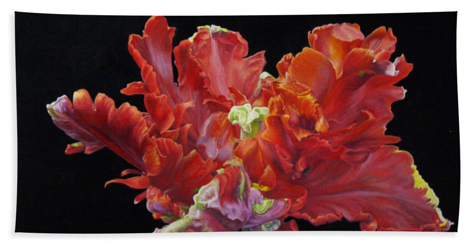 Roena King Hand Towel featuring the painting Red Parrot Tulip - Oils by Roena King