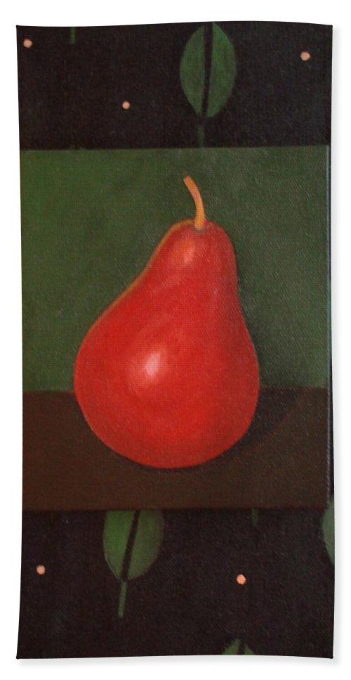 Pear Bath Towel featuring the painting Red Pear by Helena Tiainen