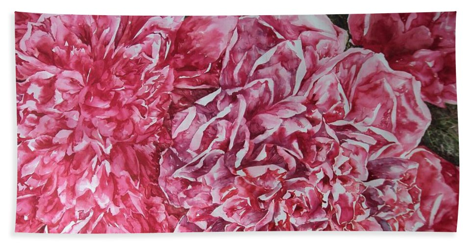 Watercolour Bath Sheet featuring the painting Red Peonies by Kim Tran