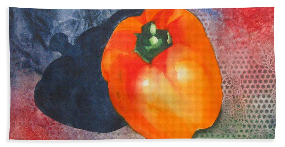 Pepper Bath Sheet featuring the painting Red Pepper Solo by Jean Blackmer