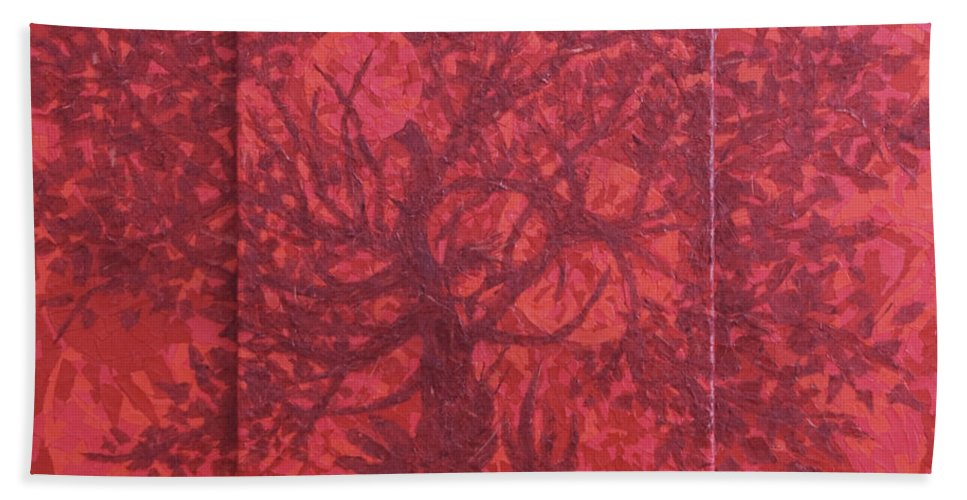 Red Bath Towel featuring the painting Red Planet by Judy Henninger