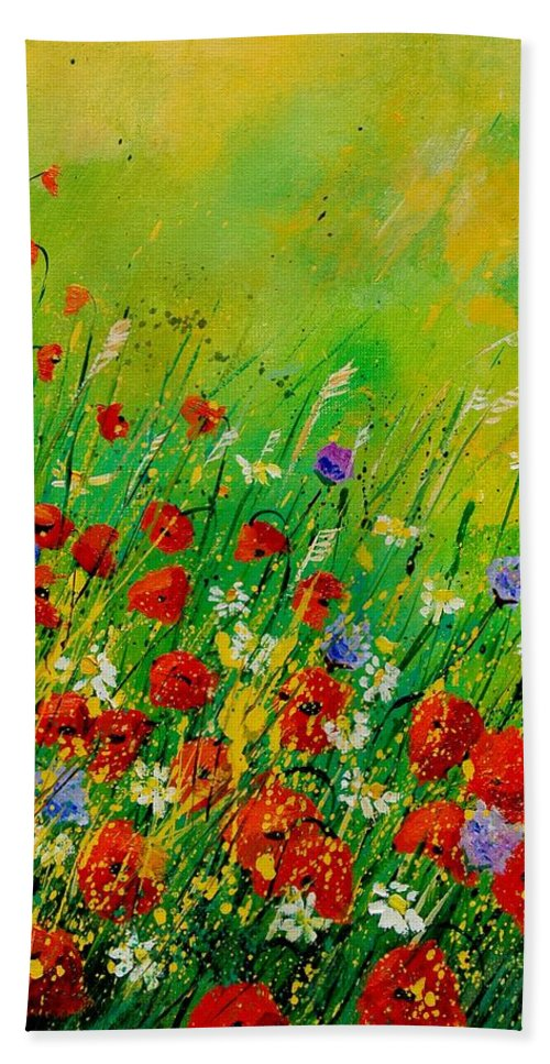 Flowers Bath Sheet featuring the painting Red Poppies 450708 by Pol Ledent