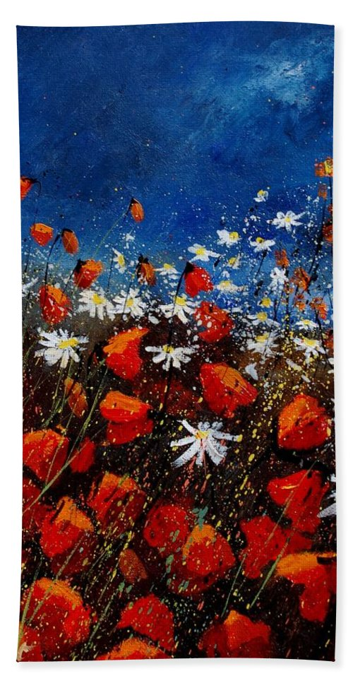 Flowers Bath Sheet featuring the painting Red Poppies 451108 by Pol Ledent