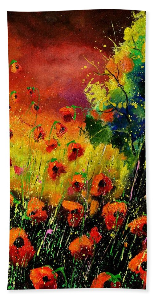 Poppies Hand Towel featuring the painting Red Poppies 451130 by Pol Ledent