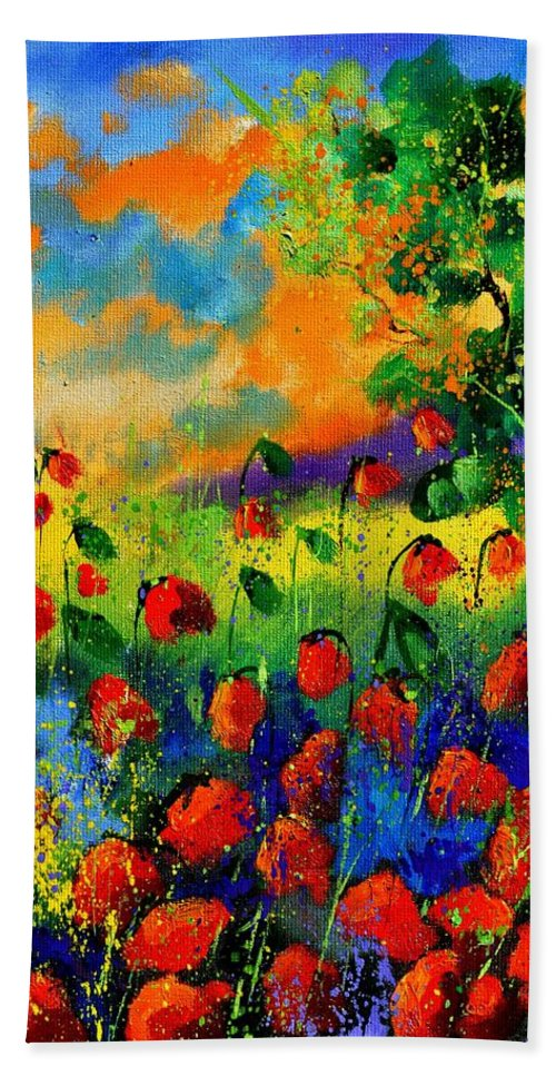 Flowers Hand Towel featuring the painting Red Poppies 45150 by Pol Ledent