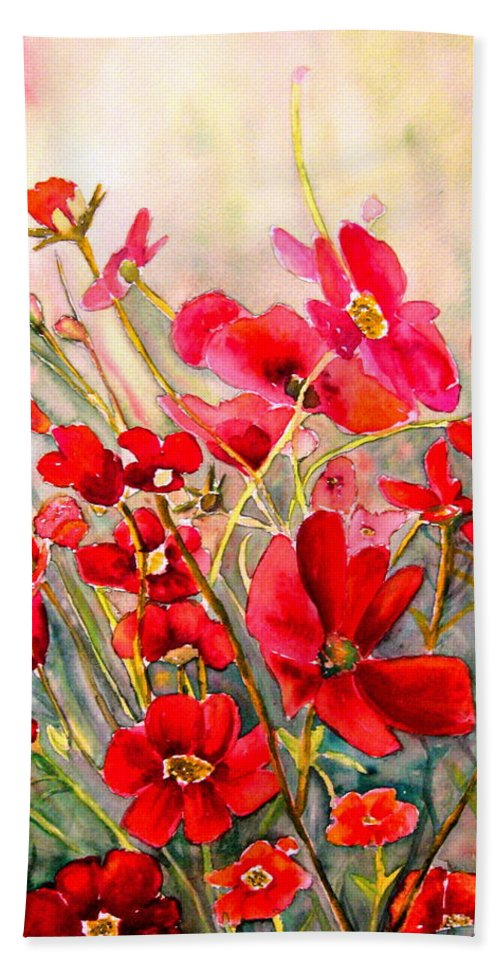 Poppies Bath Towel featuring the painting Red Poppies by Carole Spandau